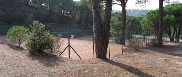 Well maintained tennis court area in natural setting - Click to enlarge.