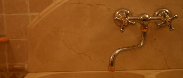 Detail of one of the taps and marble basin - Click to enlarge.